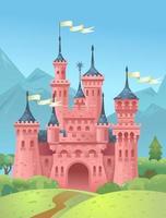 kasteel in de bergen. koningshuis in de bergen. prinses toren. vector illustratie