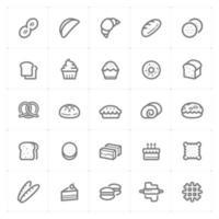 bakkerij en brood lijn pictogrammen. vectorillustratie op witte achtergrond. vector