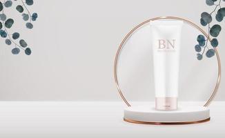 3d-realistische crème fles op voetstuk achtergrond met eucalyptusbladeren. ontwerpsjabloon van cosmetica mode-product voor advertenties, flyer, banner of tijdschriftachtergrond. vector illustratie
