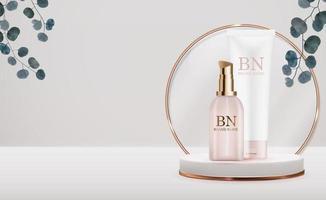 3d-realistische crème flessen op voetstuk achtergrond en eucalyptusbladeren. ontwerpsjabloon van cosmetica mode-product voor advertenties, flyer of tijdschriftachtergrond. vector illustratie