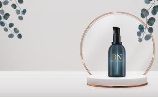 3d-realistische crème fles op voetstuk achtergrond met eucalyptusbladeren. ontwerpsjabloon van cosmetica mode-product voor advertenties, flyer, banner of tijdschriftachtergrond. vector iillustration