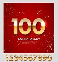 jubileumviering decoratie. gouden nummer 100 met confetti, glitters en streamerlinten op rode achtergrond. vector illustratie