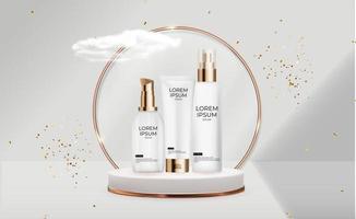 3D-realistische crème fles set. ontwerpsjabloon van cosmetica mode-product voor advertenties, flyer of tijdschriftachtergrond. vector illustratie