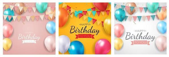 gelukkige verjaardag vakantie partij achtergrond instellen met vlaggen en ballonnen. vector illustratie eps10