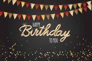 gelukkige partij verjaardag achtergrond met vlagslinger en confetti. vector illustratie