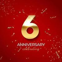 jubileumviering decoratie. gouden nummer 6 met confetti, glitters en streamerlinten op rode achtergrond. vector illustratie
