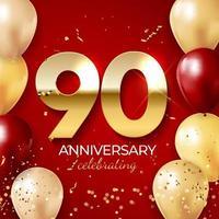 jubileumviering decoratie. gouden nummer 90 met confetti, ballonnen, glitters en streamer linten op rode achtergrond. vector illustratie