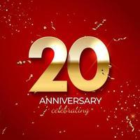 jubileumviering decoratie. gouden nummer 20 met confetti, glitters en streamerlinten op rode achtergrond. vector illustratie