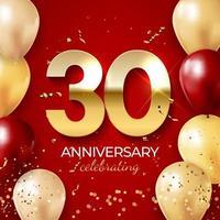 jubileumviering decoratie. gouden nummer 30 met confetti, ballonnen, glitters en streamer linten op rode achtergrond. vector illustratie