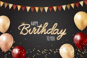 gelukkige verjaardag achtergrond met realistische ballonnen en vlaggenkrans. vector illustratie