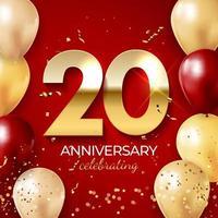 jubileumviering decoratie. gouden nummer 20 met confetti, ballonnen, glitters en streamer linten op rode achtergrond. vector illustratie