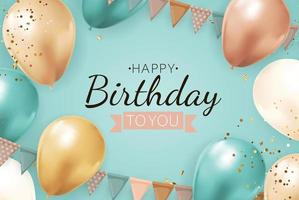 gelukkige verjaardag achtergrond met realistische ballonnen, vlaggenkrans, confetti. vector illustratie