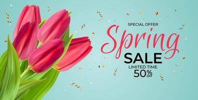 lente verkoop sjabloon achtergrond met realistische roze tulp bloem met confetti. vector illustratie