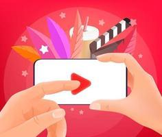 video bekijken via smartphone. man met moderne smartphone. trendy stijl illustratie vector