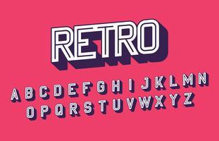 Gestileerde Retro lettertype alfabet vector
