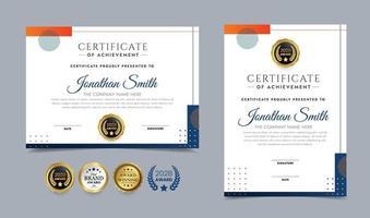 oranje en blauw diploma vector