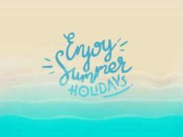 achtergrond met prachtige blauwe golven en belettering inscriptie. terug om te reizen vector