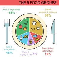 de 5 voedselgroepen vector