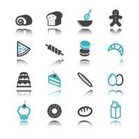 bakkerij pictogrammen met reflectie vector