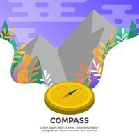 Vlak Kompas met Landschaps Vectorillustratie Als achtergrond