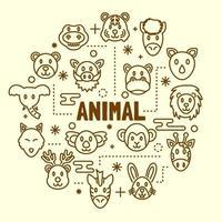 dierlijke minimale dunne lijn iconen set vector