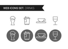 dranken dunne lijn vector pictogramserie