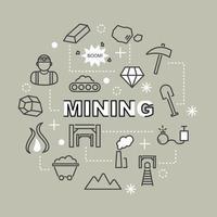 mijnbouw minimale overzichtspictogrammen vector