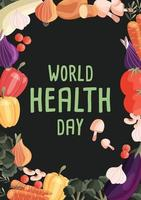Wereldgezondheidsdag verticale poster sjabloon met verzameling van verse biologische groenten. kleurrijke hand getrokken illustratie op donkergroene achtergrond. vegetarisch en veganistisch eten. vector