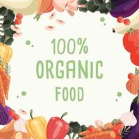 biologisch voedsel vierkante poster sjabloon met verzameling van verse biologische groenten. kleurrijke hand getrokken illustratie op lichtgroene achtergrond. vegetarisch en veganistisch eten. vector