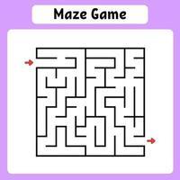 vierkant doolhof. spel voor kinderen. puzzel voor kinderen. labyrint raadsel. vector illustratie. vind het juiste pad.
