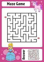 vierkant doolhof. spel voor kinderen. grappig labyrint. onderwijs ontwikkelend werkblad. activiteitenpagina. puzzel voor kinderen. cartoon stijl. raadsel voor de kleuterschool. logisch raadsel. kleur vectorillustratie. vector