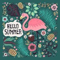 vector schattige flamingo omgeven door tropisch fruit, planten en bloemen.