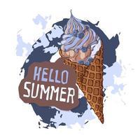 vector-ijs in wafelkegels versierd met bessen, chocolade of noten. vector