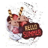 vector-ijs in kom versierd met bessen, chocolade of noten. vector