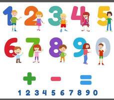 educatieve nummers met schattige kinderkarakters vector