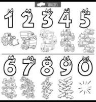 zwart-wit educatieve nummers instellen met cartoon voertuigen vector