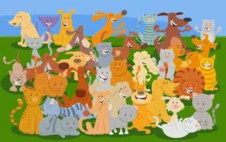 cartoon katten en honden stripfiguren dierengroep vector