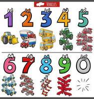 educatieve nummers instellen met cartoon transportvoertuigen vector