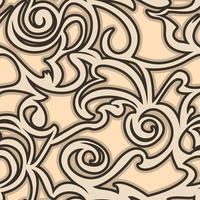 naadloze vector beige patroon van spiralen en krullen.