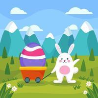 het konijn trekt grote eieren aan in de tuin vector