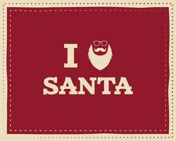 Kerstmis uniek grappig teken, citaat achtergrondontwerp voor kinderen - houd van santa. Mooi helder palet. Rode en witte kleuren. Kan worden gebruikt als flyer, spandoek, poster, xmas-kaart. Vector.
