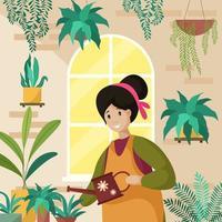 vrouwen zijn thuis bezig met het water geven van planten vector