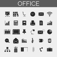 Zakelijke en office-pictogrammen instellen. Trendy silhouetpictogrammen voor Web en mobiel. vector
