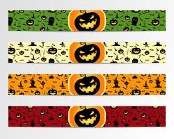 Vier Halloween-banners met Groen, rood, helder en oranje design. Kan worden gebruikt op internet, afdrukken. Als uitnodiging, flyer-kaart, halloween-poster etc. Leuk ontwerp voor feest. Vector.