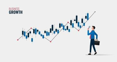 bedrijfsgroei concept met zakenman bedrijf vergrootglas om grafiek symbool illustratie te analyseren. vector
