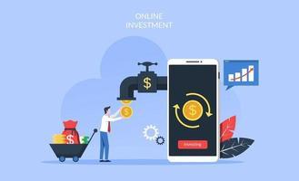 online investeringsconcept met zakenman die muntstukken van geld van smartphone vectorillustratie nemen. vector