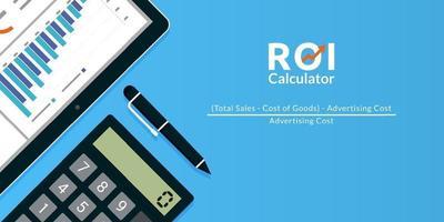 rendement op investering roi calculator concept vectorillustratie. vector