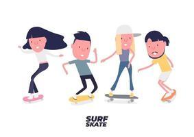 skateboarder ingesteld. jonge jongen en meisje surfen op skateboard of surf skate. mensen op schaatsen. grappig stripfiguur.