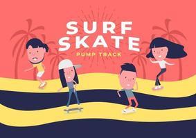 jonge jongen en meisje surfen op skateboard of surf skate. mensen op schaatsen op pomptrack achtergrond. grappig stripfiguur.