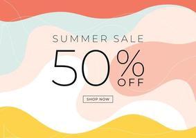 minimale zomerverkoop 50 procent korting op het ontwerp van de bannermalplaat. vector